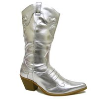 View Item NEW SILVER COWGIRL COWBOY WOMENS FASHION BOOTS SIZE 3